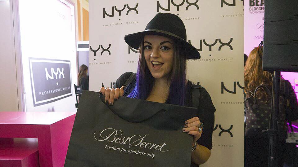 Looking excited with my goody bag at the NYX stall (Picture thanks to Lauren!)