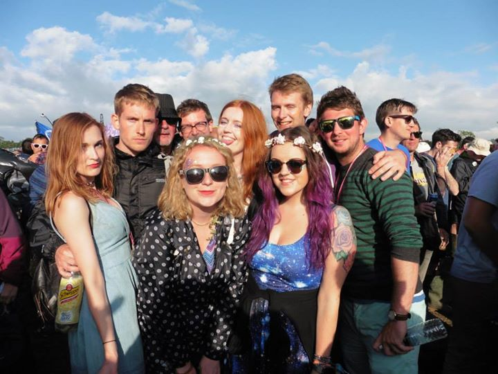 Glastonbury 2015 in the sun with some of the babes I camped with!