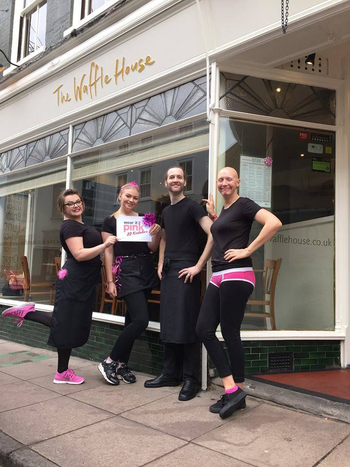 Waffle House Norwich Team on 23rd October for #wearitpink. Photo from: https://www.facebook.com/WaffleHouseNorwich/