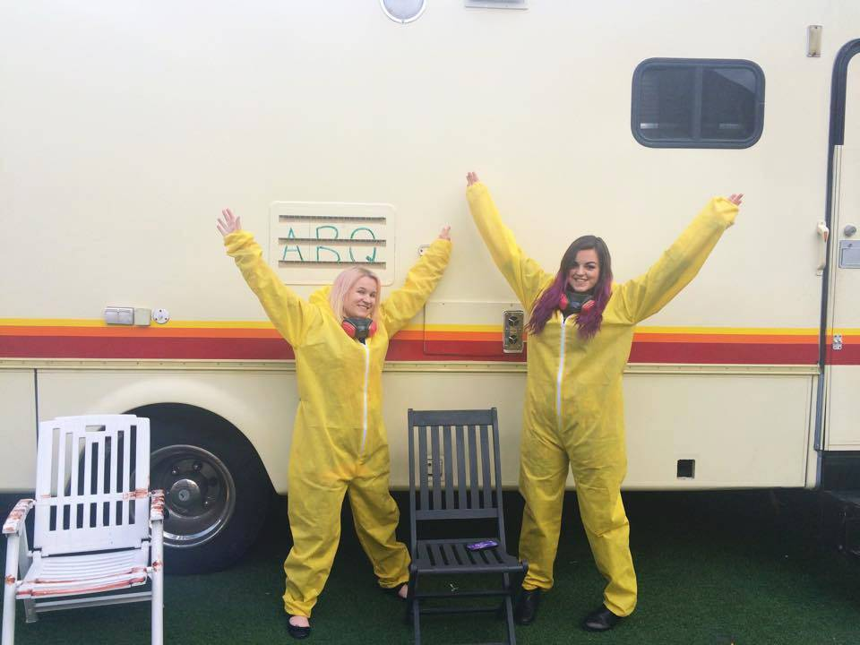 Yellow Jumpsuite in front of Heisenberg's RV @ Breaking Bad Bar - ABQ London