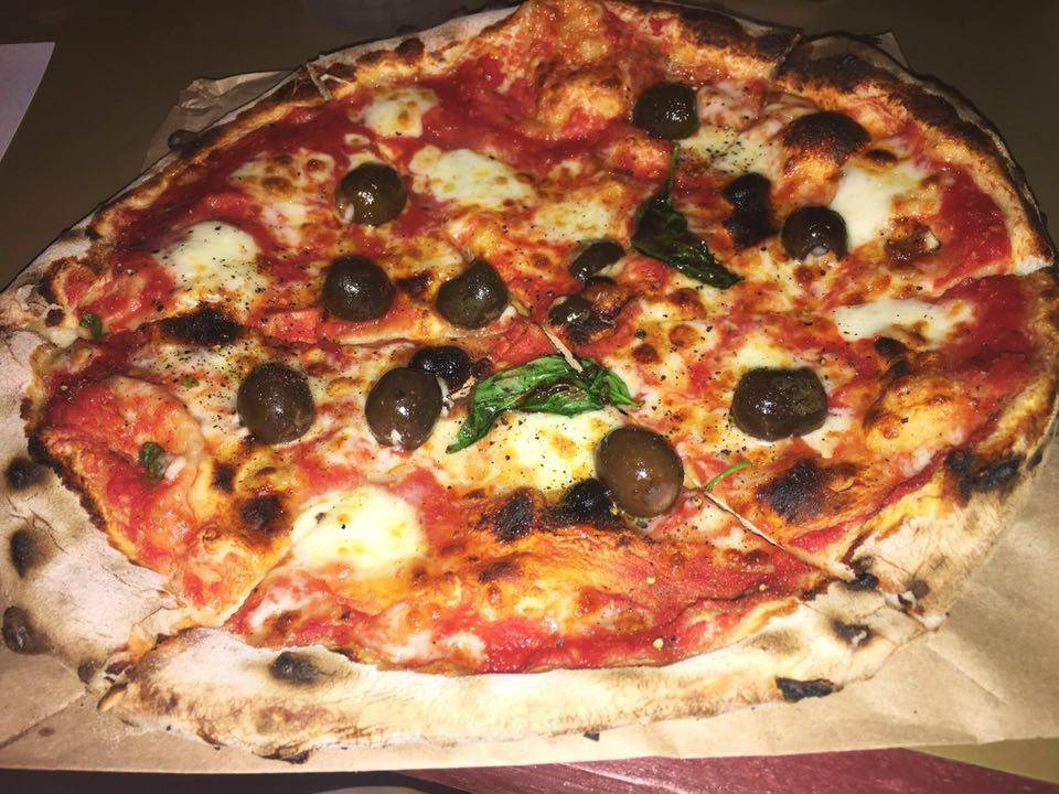 Fundi Pizza's Margherita with olives @ Dinerama, Shoreditch