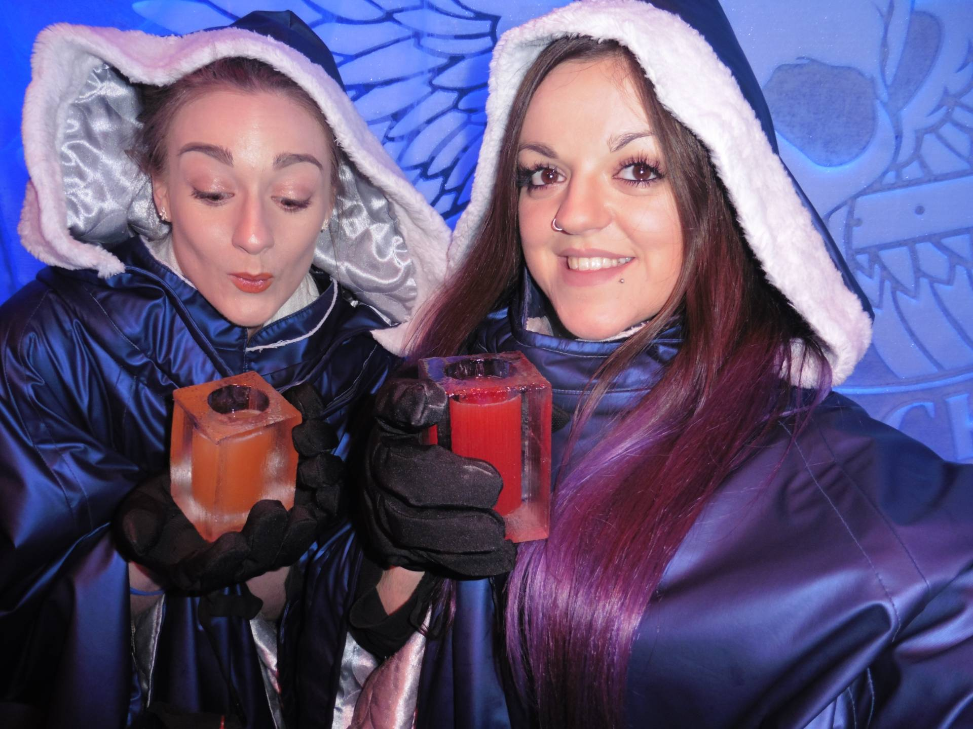Lauren (Sahara Splash) & I Drinking Cocktails @ Ice Bar, London