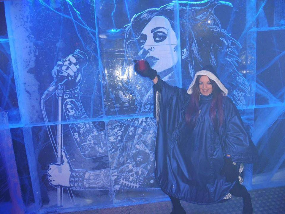 Lunging in front of some Ice Wall Art @ Ice Bar, London