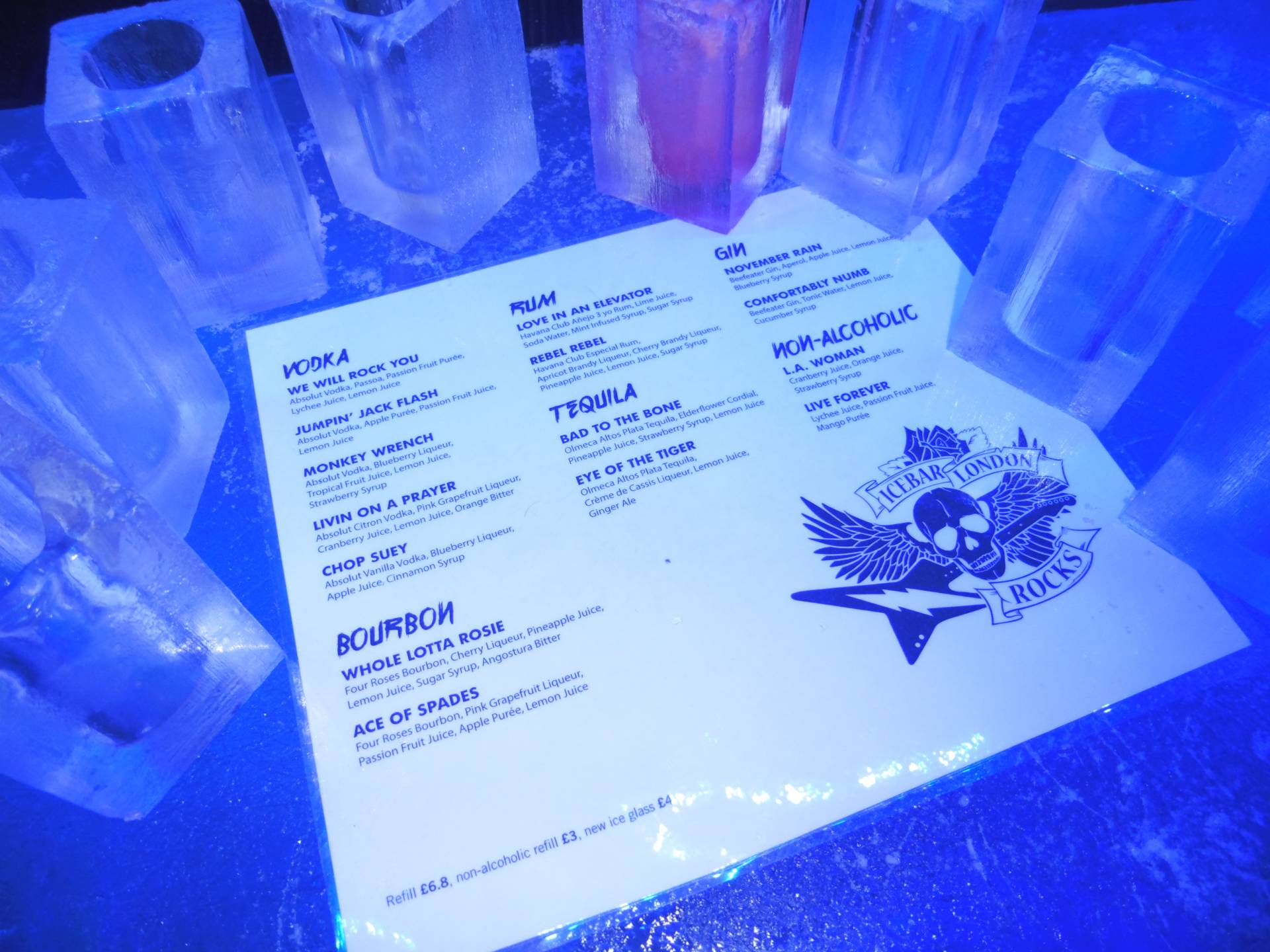 Cocktail Menu @ Ice Bar, London