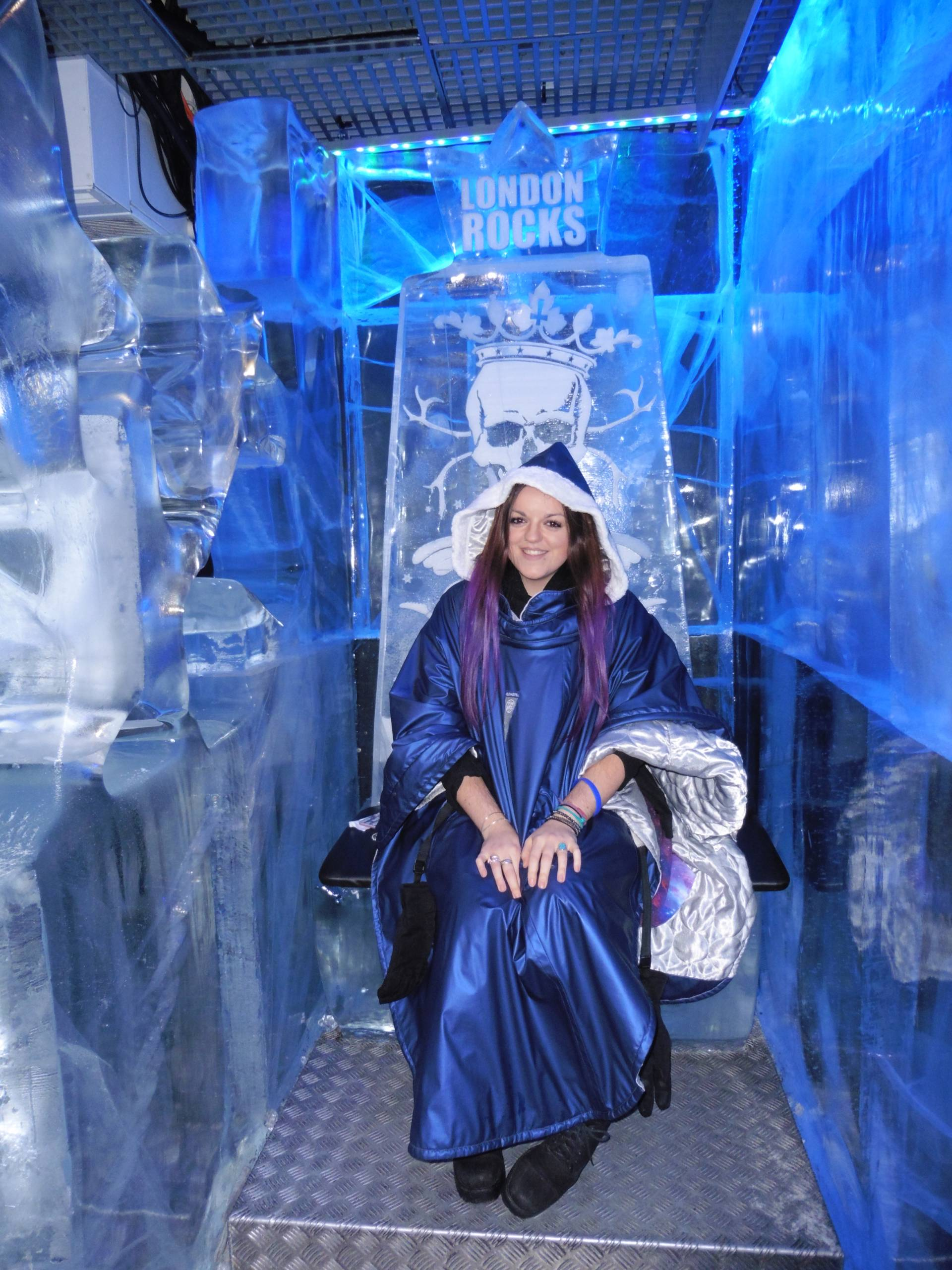Sitting on the throne @ Ice Bar, London