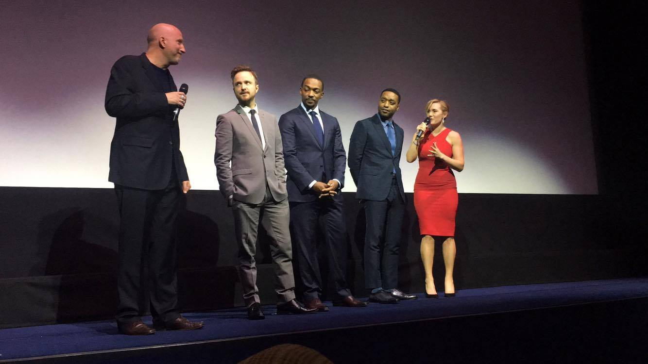 Left to Right: John Hillcoat (Director), Aaron Paul, Anthony Mackie, Chiwetel Ejiofor, and Kate Winslet