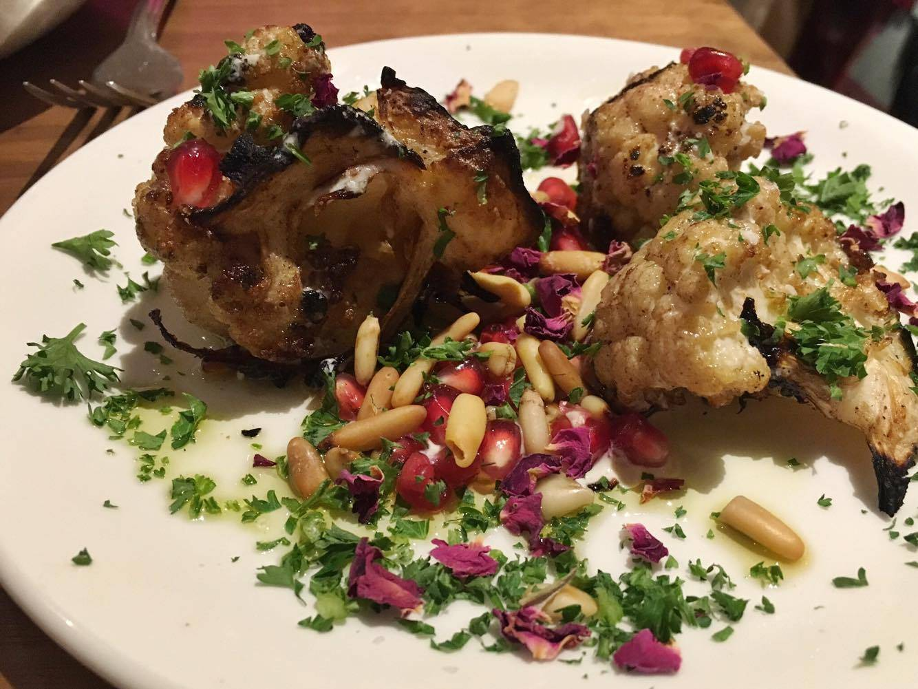 Chargrilled Cauliflower with tahini, lemon, & pinenuts (without pomegranate seeds) @ Mildreds, Camden London (second visit)