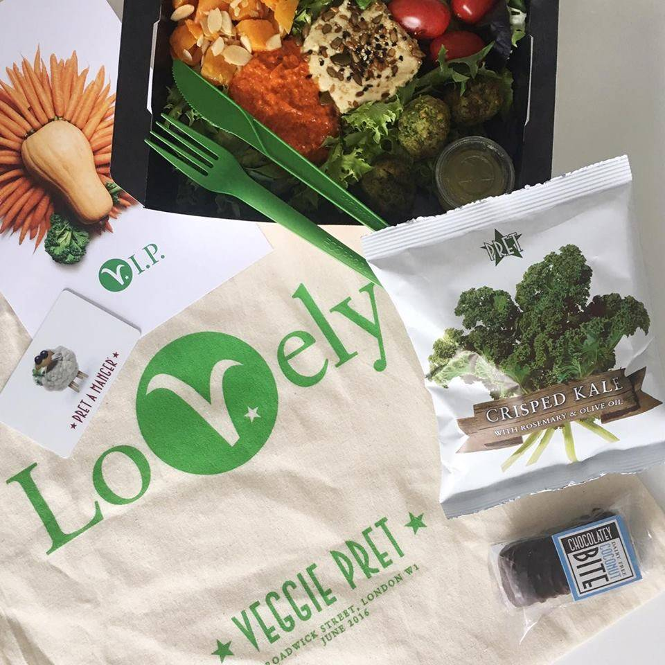 First visit: Falafel Mezze Box, Crisped Kale, Chocolate Coconut Bite & 'Lovely' Pret tote bag!