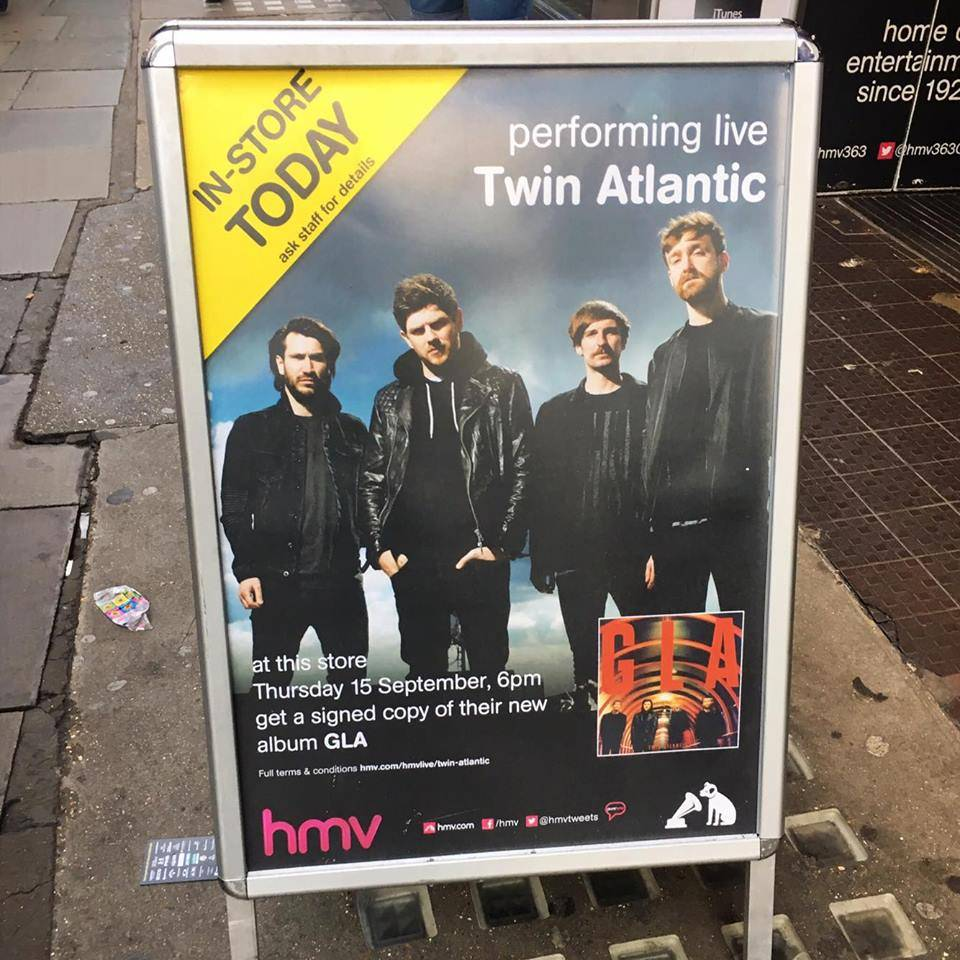 Twin Atlantic perform GLA Live HMV 363 Oxford Street London