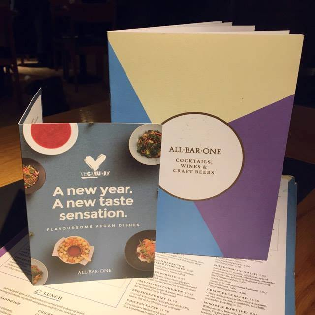 All Bar One Veganuary Vegan Menu
