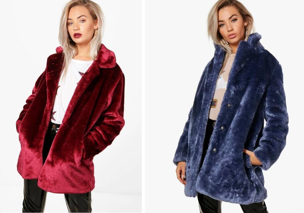 boohoo faux fur Collared Faux Fur Coat deep red navy blue
