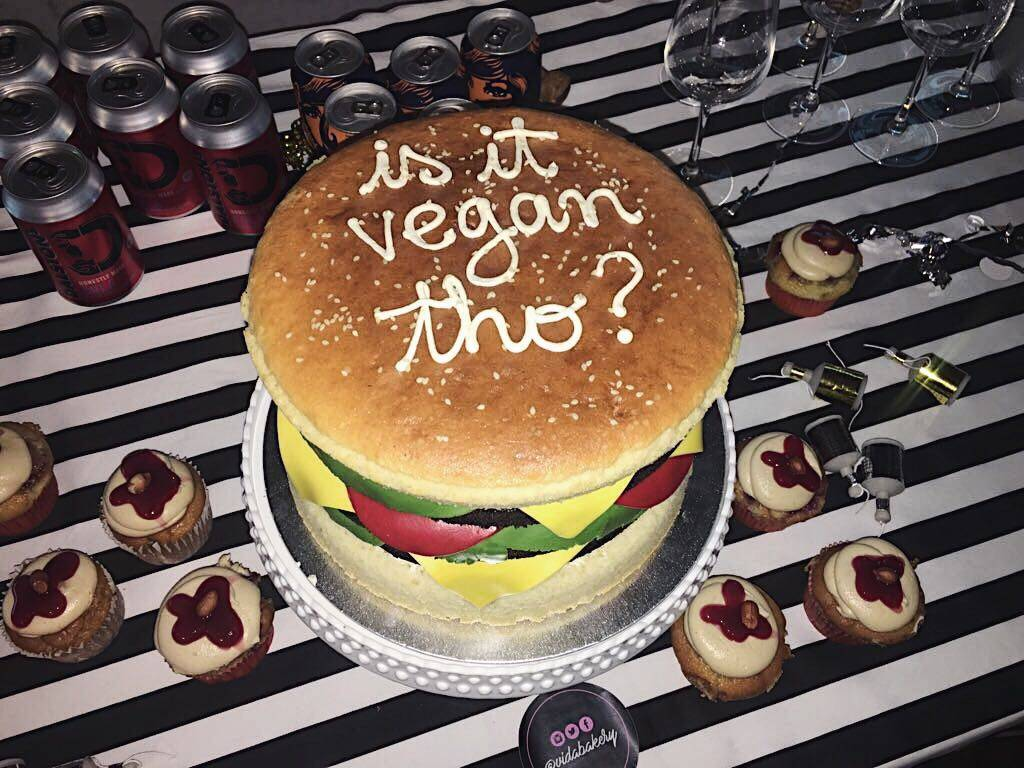 Vegan Burgers by Mooshies Brick Lane London Vida Barkery Burger Cake