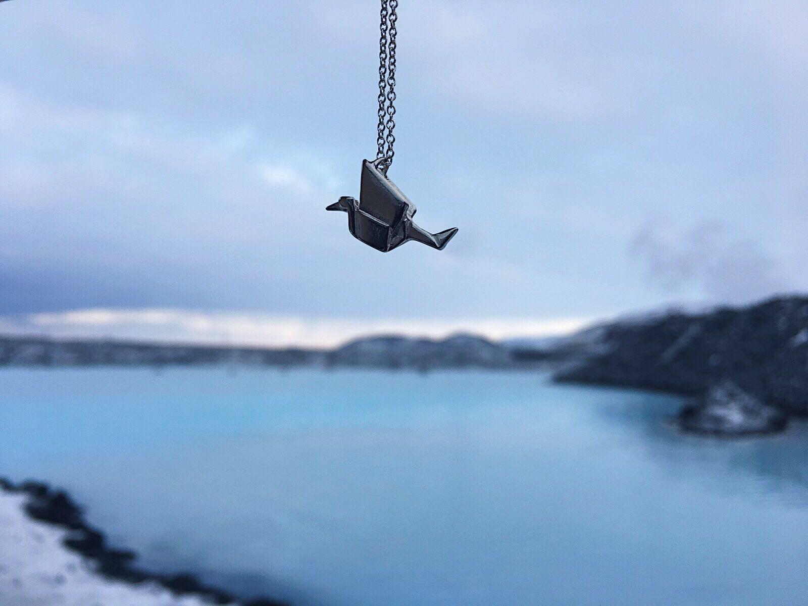 jewellerybox sterling silver jewellery necklace origami crane pendant