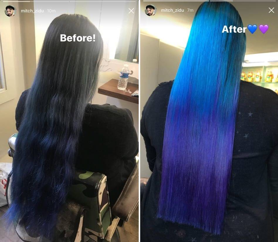 Mermaid Hair Blue Purple Ombre Mitch Zidu Danny Oh Salon Before After
