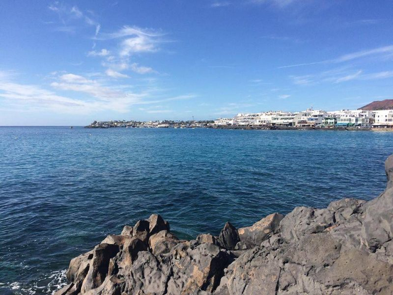 Lanzarote beach, blue sky, blue sea
